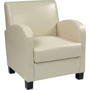 Office Star OSP Designs Eco Leather Club Chair With Espresso Legs, Cream