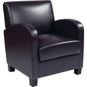 Office Star OSP Designs Eco Leather Club Chair With Espresso Legs, Plum