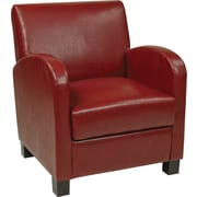Office Star OSP Designs Eco Leather Club Chair With Espresso Legs, Crimson Red