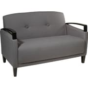 Office Star Ave Six Wood Main Street Loveseat, Charcoal (MST52-W12)