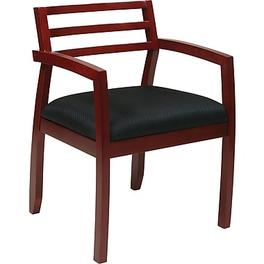 Office Star OSP Furniture Black Fabric Guest Chair With Wood Back, Napa Cherry Finish