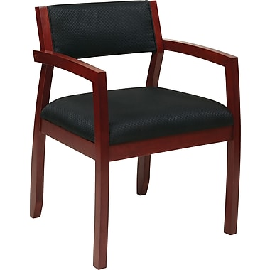 Office Star OSP Furniture Black Fabric Guest Chair With Upholstered Back, Napa Cherry Finish