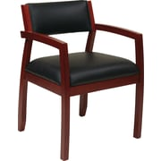 Office Star OSP Furniture Black Eco Leather Guest Chair With Upholstered Back, Napa Cherry Finish