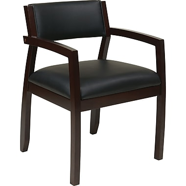Office Star OSP Furniture Black Eco Leather Guest Chair With Upholstered Back, Napa Espresso Finish