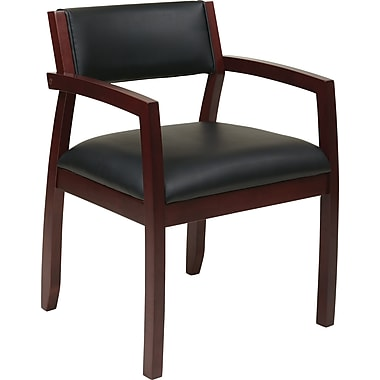 Office Star OSP Furniture Black Eco Leather Guest Chair With Upholstered Back, Napa Mahogany Finish