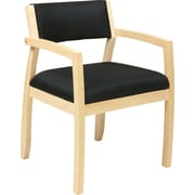 Office Star OSP Furniture Black Fabric Guest Chair With Upholstered Back, Napa Maple Finish