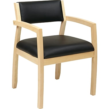 Office Star OSP Furniture Black Eco Leather Guest Chair With Upholstered Back, Napa Maple Finish
