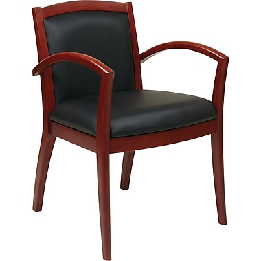Office Star OSP Furniture Black Eco Leather Guest Chair With Full Cushion Back, Napa Cherry Finish