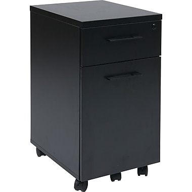 Office Star Pro-Line II™ Prado Laminate/Metal Pulls Mobile File Cabinet, Black
