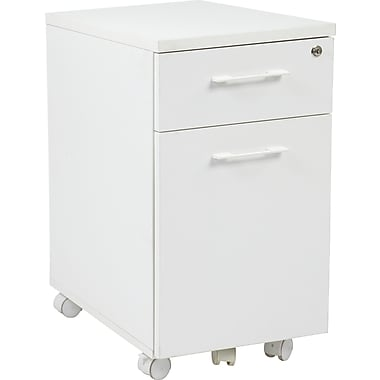 Office Star Pro-Line II™ Prado 2-Drawer Mobile Pedestal File Cabinet, White (PRD3085-WH)