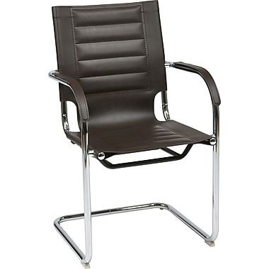 Office Star Ave Six® Vinyl Trinidad Tool-Less Assembly Guest Chair, Espresso