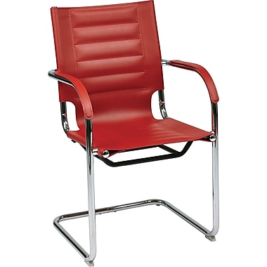 Office Star Ave Six® Vinyl Trinidad Tool-Less Assembly Guest Chair, Red