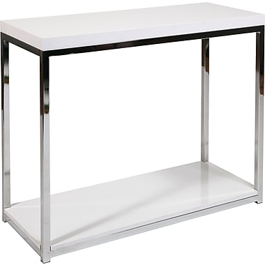 Office Star Ave Six® 29in. x 36in. x 15in. Wood/Veneer Wall Street Foyer Table, White