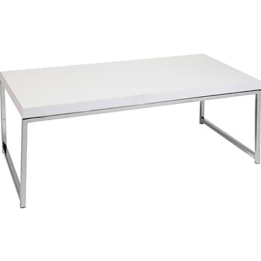 Office Star Ave Six® 15in. x 44in. x 22in. Wood/Veneer Wall Street Coffee Table, White Melamine/Chrome