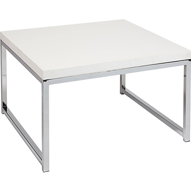 Office Star Ave Six® 17in. x 28in. x 28in. Wood/Veneer Wall Street Accent/Corner Table, White