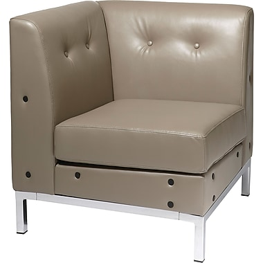 Office Star Ave Six® Faux Leather Wall Street Corner Chair, Smoke