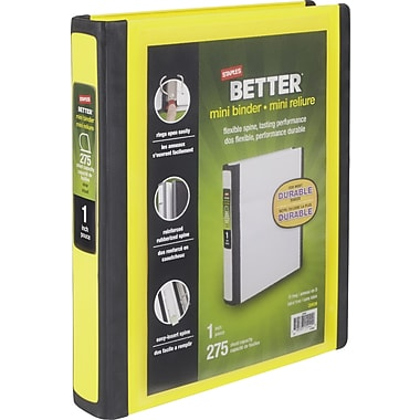 1in. Staples® Better® 5-1/2in. x 8-1/2in. Mini View Binders with D-Rings, Yellow