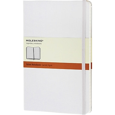 Moleskine Classic Notebook, Large, Ruled, White, Hard Cover, 5in. x 8-1/4in.