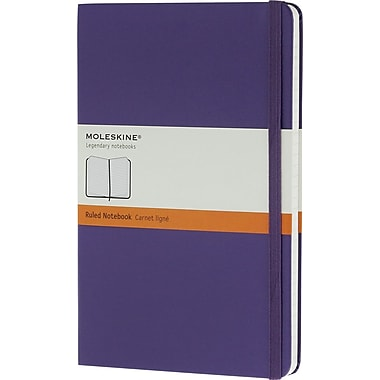 Moleskine Classic Notebook, Large, Ruled, Brilliant Violet, Hard Cover, 5in. x 8-1/4in.