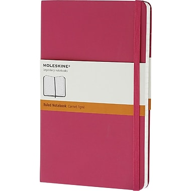 Moleskine Classic Notebook, Large, Ruled, Magenta, Hard Cover, 5in. x 8-1/4in.