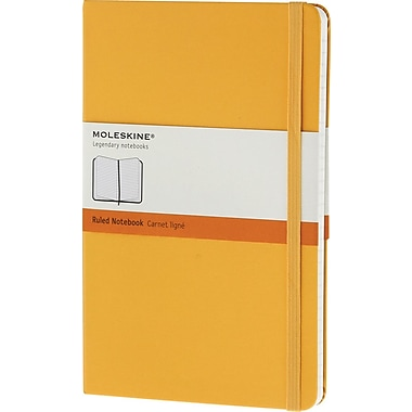 Moleskine Classic Notebook, Large, Ruled, Orange Yellow, Hard Cover, 5in. x 8-1/4in.