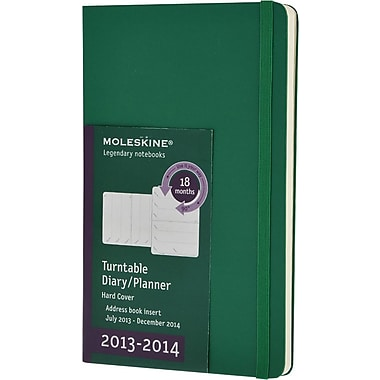 Moleskine 2013-2014 Turntable Planner, 18M, Large, Weekly, Oxide Green, Hard Cover, 5in. x 8-1/4in.