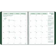 2014 Brownline EcoLogix Recycled Monthly Planner, 14 months (Dec-Jan), Twin-Wire, Soft Green Cover, 11 x 8-1/2