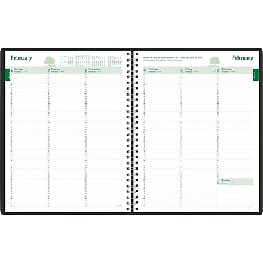 2014 Brownline EcoLogix Recycled Weekly Planner, Twin-Wire, Soft Black Cover, 11in. x 8-1/2in.
