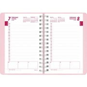 2014 Brownline Daily Planner, Twin-Wire, Soft Pink cover with Pink Ribbon, 8 x 5