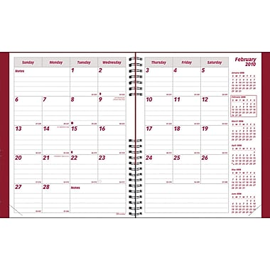 2014 Brownline CoilPro Monthly Planner, 14 months (Dec-Jan), Hard Red Cover, 11in. x 8-1/2in.