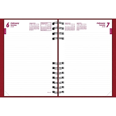 2014 Brownline CoilPro Daily Journal, Untimed, Hard Red Cover, 8-1/4in. x 5-3/4in.