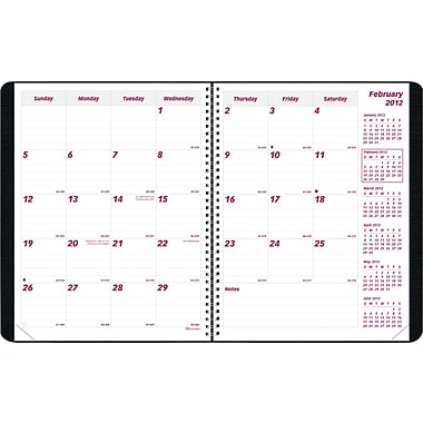 2014 Brownline PlannerPlus Monthly Planner, 14 months (Dec-Jan), Self Stick Note System, Twin-Wire, Soft Cover, 11in. x 8-1/2in.