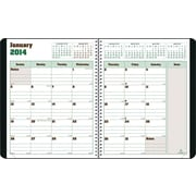 2014 Blueline DuraGlobe Monthly Planner, Sugarcane Based Paper, Twin-Wire Binding, Soft Black Cover, 11 x 8-1/2