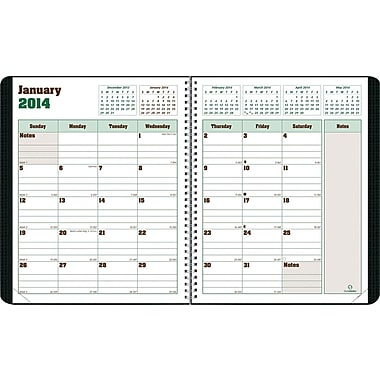 2014 Blueline DuraGlobe Monthly Planner, Sugarcane Based Paper, Twin-Wire Binding, Soft Black Cover, 8-7/8in. x 7-1/8in.