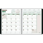 2014 Blueline DuraGlobe Monthly Planner, Sugarcane Based Paper, Twin-Wire Binding, Soft Black Cover, 8-7/8 x 7-1/8