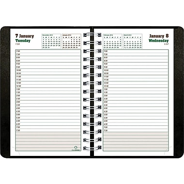2014 BluelineDuraGlobe Daily Planner, Sugarcane Based Paper, Twin-Wire Binding, Soft Black Cover, 8in. x 5in.