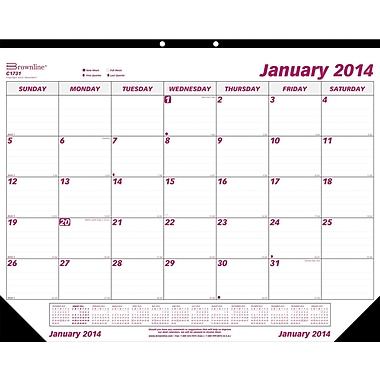 2014 Brownline Monthly Desk Pad, Virgin Paper, 22in. x 17in.