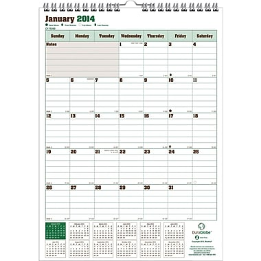 2014 Blueline DuraGlobe® Wall Calendar, Sugarcane Based Paper, 12in. x 17in.