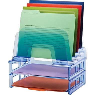 Officemate Blue Glacier Large Incline Sorter with with 2 Letter Trays