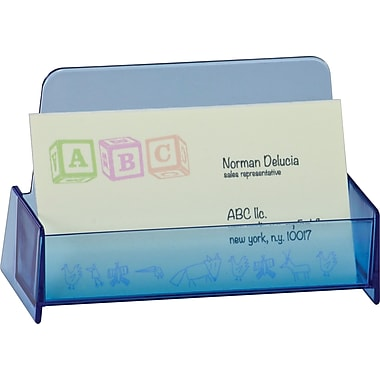Officemate Blue Glacier Business Card Holder, Transparent Blue