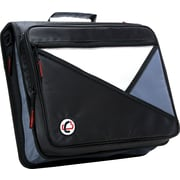 Case•it LT-007 2 Black Zipper Binder with Laptop/Tablet Pocket