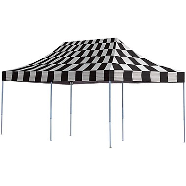ShelterLogic 10' x 20' Straight Leg Pop-up Canopy with Black Roller Bag, Checkered Flag Cover