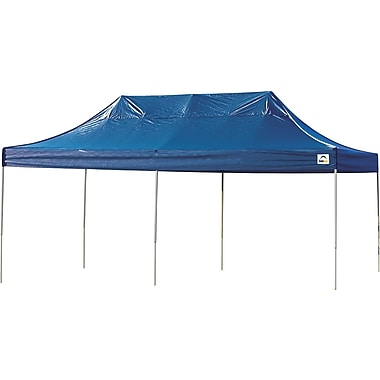 ShelterLogic 10' x 20' Straight Leg Pop-up Canopy with Black Roller Bag, Blue Cover