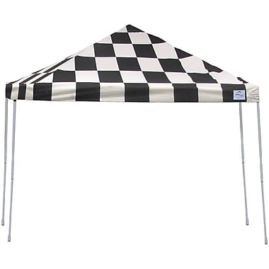 ShelterLogic 12' x 12' Straight Leg Pop-up Canopy with Black Roller Bag, Checkered Flag Cover
