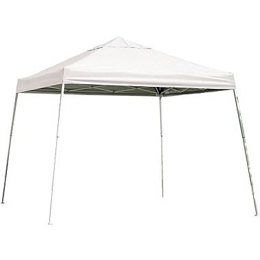ShelterLogic 12' x 12' Slant Leg Pop-up Canopy with Black Roller Bag, White Cover
