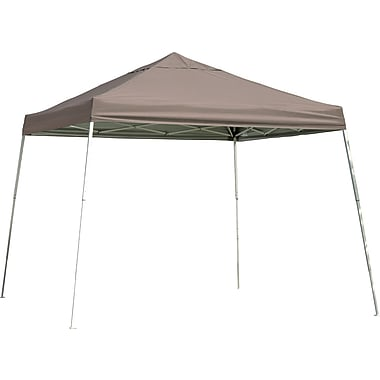 ShelterLogic 12' x 12' Slant Leg Pop-up Canopy with Black Roller Bag, Desert Bronze Cover