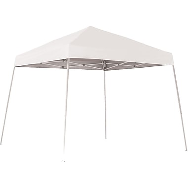 ShelterLogic 10' x 10' Slant Leg Pop-up Canopy with Black Roller Bag, White Cover