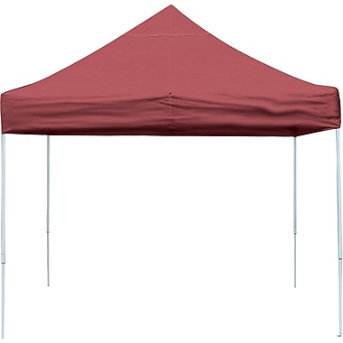 ShelterLogic 10' x 10' Straight Leg Pop-up Canopy with Black Roller Bag, Red Cover