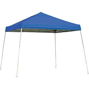 ShelterLogic 10' x 10' Slant Leg Pop-up Canopy with Black Roller Bag, Blue Cover