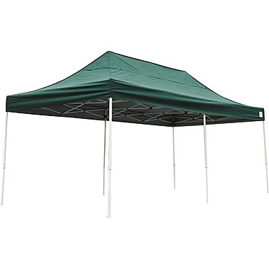 ShelterLogic 10' x 20' Straight Leg Pop-up Canopy with Black Roller Bag, Green Cover